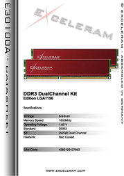 Exceleram 4GB DDR3 PC3-12800 E30100A Leaflet