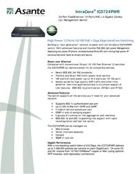 Asante IC3724PWR 99-00825 Leaflet