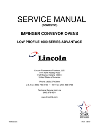 Lincoln IMPINGER CONVEYOR OVENS 1600 User Manual