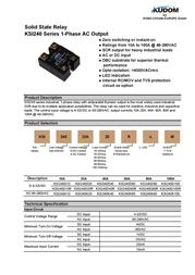 Kudom Solid State Overload Relay Ksi240 D25 Lm KSI240 D25 LM Data Sheet