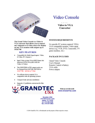 GrandTec Grand Video Console GVC-1000 Leaflet