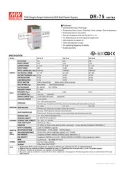 MEAN WELL DR-75-48 DIN-Rail Power Supply Unit, 75W 48V DC DR-75-48 Leaflet