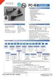 Piher PC16SH-10IP06102A2020MTA Mono Potentiometer 1K Linear PC16SH-10IP06102A2020MTA Data Sheet