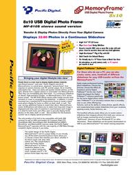 Pacific Digital 8x10 MemoryFrame Digital Photo Frame E-30212 Leaflet