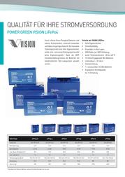 Vision Akkus VIS LFP1225, 12V 25Ah LiFePO 4 Battery, Rechargeable VIS LFP1225 Data Sheet