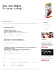 TESA Permanent Glue Rollers 8,4 mm 59151 Data Sheet