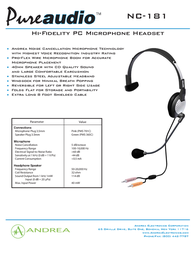 Andrea Electronics NC-181 C1-1022100-1 Leaflet