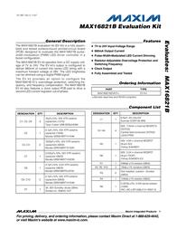 Maxim Integrated MAX16821B Evaluation Kit MAX16821BEVKIT+ MAX16821BEVKIT+ Data Sheet