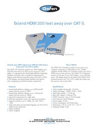 Gefen EXT-HDMI-CAT5X Leaflet