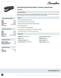 Swingline Optima S7087810 Leaflet