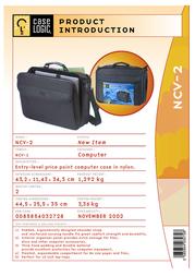 "Case Logic Basic Laptop Case 15.4"" with extra compartment NCV2 Leaflet"