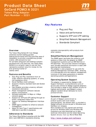 Madge GoCard Token-Ring PCMCIA Adapter (UTP only) 3221 3010 Product Datasheet