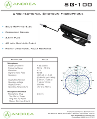 Andrea Electronics SG-100 P-C1-1024600-50 Leaflet