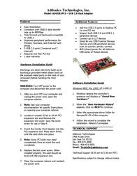 Addonics ADUSB2PCI Leaflet