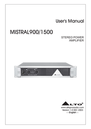 Mistral LTO 900/1500 User Manual