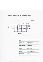 Sedeco Standard Signal lighting Red B-403, 12V, ROT Data Sheet
