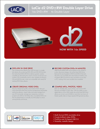 LaCie DT DVD+-RW/DOUBLE LAYER/16X/USB2.0&FIREWIRE D2 DESIGN 300920 Leaflet