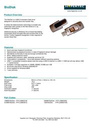 Hypertec 128MB USB 2.0 BioDisk HYFLUSB03128 Leaflet