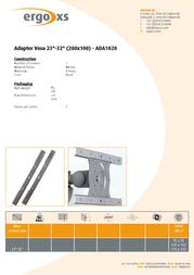 ErgoXS Adapter Vesa 100/200 ADA1020 Leaflet