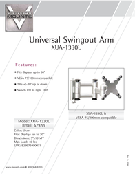 "Premier Mounts Universal Swingout Arm for 13-30"" Displays (XUA-1330L) XUA-1330L Leaflet"