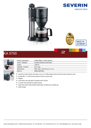 Severin Café Caprice KA 5700 KA5700 Leaflet