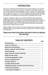 Mr. Coffee BMX4 User Manual