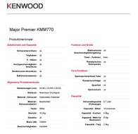 Kenwood Home Appliance Food processor Kenwood 1200 W Silver 0WKMM77006 Data Sheet