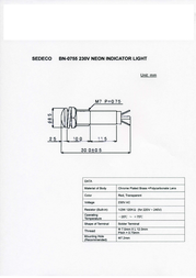 Sedeco Neon signal lights with integrated series resistor. Red BN-0755, ROT Data Sheet