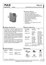 Puls DIMENSION YR80.241 din rail power supply U YR80.241 Data Sheet