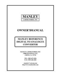 Manley Labs DIGITAL TO ANALOGUE CONVERTER User Manual