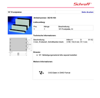 Schroff 19'' front panels 30219-104 Data Sheet