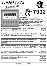 Trumeter 7932 Counter modules 79 series Assembly dimensions 45 x 45 mm 7932 Data Sheet