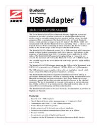 Zoom 4320AF Bluetooth USB Adapter 4320-00-68AF Leaflet