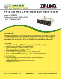 Cables Unlimited All in one 3.5in Internal Black Card Reader with USB 2.0 USB-1610B Leaflet
