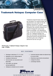 Targus Trademark Notepac Plus Computer Case CTM400 Leaflet