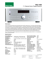 Rotel RSX-1550 RSX1550/ZIL Leaflet