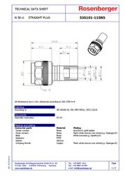 Rosenberger N connector Plug, straight 50 Ω 53S101-115N5 1 pc(s) 183093 Data Sheet