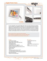 "Aigo A396 6.5"" Digital Photo Frame MP3 A396 Leaflet"