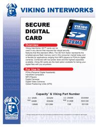 Viking 512MB SECURE DIGITAL FLASH CARD SD512M Leaflet