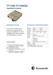 Dynamode 10/100/1000Mbps Gigabit Media Converter TT1100-TF1000SX(SC) Merkblatt
