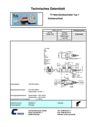 Potentiometer Service Gmbh Power switch, Pushbutton switch 250 Vac 2.5 A 2 x Off/On latch 1 pc(s) TYP1 Data Sheet