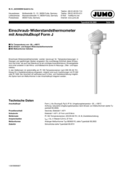 Jumo Screw-in res. thermom.+conn.head 100 mm 902030/10-402-1003-1-6-100-104/000 Data Sheet