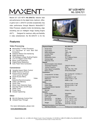 Maxent ml-32hlt21 Product Datasheet
