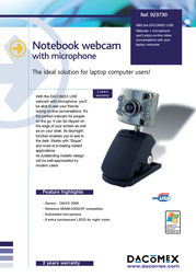 Dacomex Notebook Webcam + Microphone 923730 Leaflet