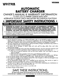 Vector Battery Charger Automatic Battery Charger User Manual