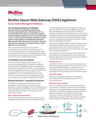 McAfee Secure Web Gateway 3300 Appliance MAP-3300-SWGA Data Sheet