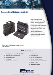 Targus Top-Loading Notepac With Air TLN01A Leaflet
