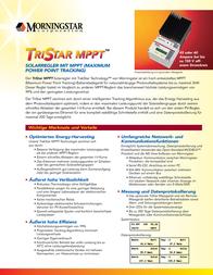 Morningstar Solar charge controller 321037 Data Sheet