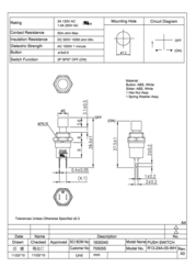 Sci Pushbutton 250 Vac 1.5 A 1 x Off/(On) momentary 1 pc(s) R13-24A1-05-WT Data Sheet
