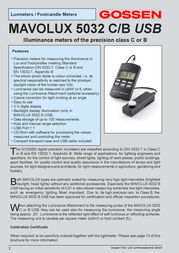 Gossen MAVOLUX 5032 B USB M503G User Manual